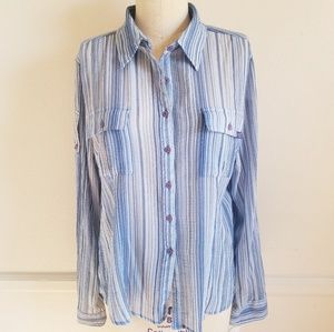 DKNY   Striped Button-down Long Sleeve top…